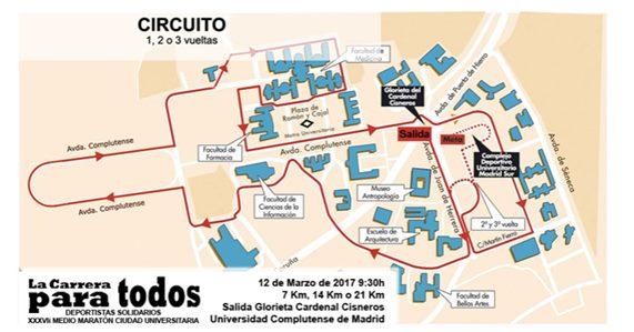 media maraton ciudad universitaria madrid recorrido